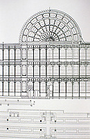 Drawing of Crystal Palace, a cast-iron and plate-glass structure originally built in Hyde Park, London, to house the Great Exhibition of 1851. Designed by Joseph Paxton. Partial front (left) and rear (right) elevations of the Crystal Palace--historical drawing.