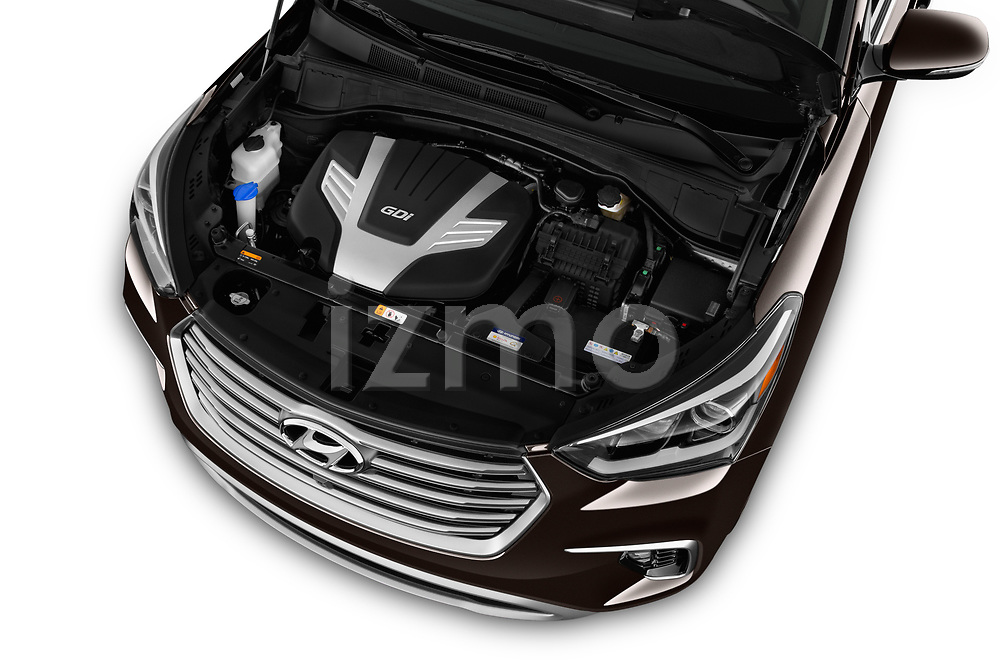 Car Stock 2017 Hyundai Santa-Fe Limited-Ultimate-FWD 5 Door SUV Engine  high angle detail view