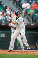 Norfolk Tides shortstop Paul Janish (11) at bat during a game against the Buffalo Bisons on July 18, 2016 at Coca-Cola Field in Buffalo, New York.  Norfolk defeated Buffalo 11-8.  (Mike Janes/Four Seam Images)