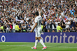Carlos Henrique Casemiro of Real Madrid celebrates after scoring a goal during the match of La Liga between Real Madrid and Futbol Club Barcelona at Santiago Bernabeu Stadium  in Madrid, Spain. April 23, 2017. (ALTERPHOTOS)