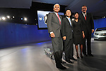 (L-r) General Motors, GM, Vice Chairman Bob Lutz, LG Chem CEO Peter Kim, University of Michigan Professor Ann Marie Sastry and GM CEO Rick Wagoner appear together on stage during the GM presentation at the Detroit Auto Show in Detroit, Michigan on January 12, 2009.