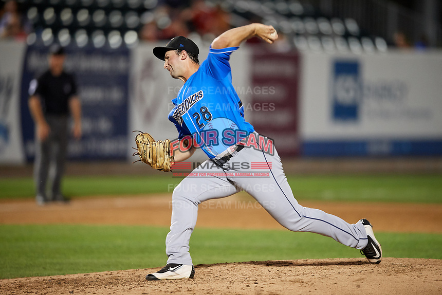 Akron RubberDucks relief pitcher R.C. Orlan (28) delivers a pitch during a game against the Harrisburg Senators on August 18, 2018 at FNB Field in Harrisburg, Pennsylvania.  Akron defeated Harrisburg 5-1.  (Mike Janes/Four Seam Images)