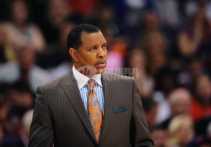 Mar. 30, 2011; Phoenix, AZ, USA; Phoenix Suns head coach Alvin Gentry against the Oklahoma City Thunder at the US Airways Center. Mandatory Credit: Mark J. Rebilas-.