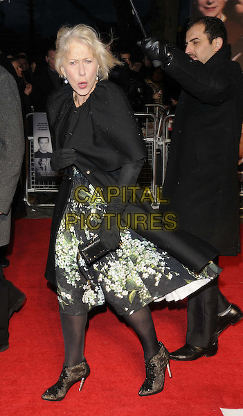 "Dame Helen Mirren.The UK Premiere of ""Hitchcock"", BFI Southbank, London, England..9th December 2012.full length black jacket coat green dress white floral print gloves  cape side clutch bag looks angry upset funny mouth open.CAP/CAN.©Can Nguyen/Capital Pictures."