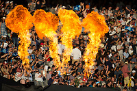 The fire burns for another six  during the Black Caps v Australia international T20 cricket match at Eden Park in Auckland, New Zealand. 16 February 2018. Copyright Image: Peter Meecham / www.photosport.nz