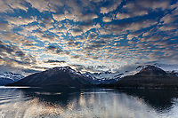 Summer landscape of Prince William Sound and Chugach Mountains and glaciers with cumulus clouds   Southcentral, Alaska  <br /> <br /> (C) Jeff Schultz/SchultzPhoto.com