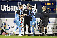 Max Kretzschmar of Wycombe Wanderers (17) replaces Paul Hayes of Wycombe Wanderers (right) during the Sky Bet League 2 match between Luton Town and Wycombe Wanderers at Kenilworth Road, Luton, England on 26 December 2015. Photo by David Horn.