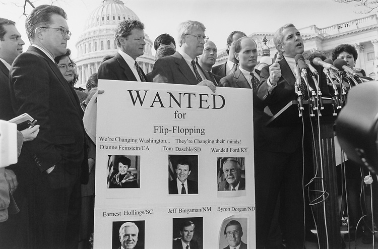 House and Senate, Congressmen held a rally in support of the BBA. Sen. Spencer Abraham, R-Mich., Rep. Tom Foley, D-Wash., Waloholtz, Sen. Jim Inhofe, R-Okla., Rep. Roger Wicker, R-Miss., Rep. Jerry Weller, R-Ill., and Rep. John Shadegg, R-Ariz., in 1995. (Photo by Chris Martin/CQ Roll Call via Getty Images)