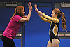 Bethpage gymnastics at Long Beach High School Monday, January 4, 2016. Amanda Ferraro with coach Kim Rhatigan - Floor