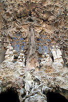 Detail above one entrance to Antoni Gaudi's la Sagrada Familia cathedral in Barcelona, Spain.