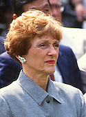 Joan Mondale looks on as U.S. President Bill Clinton names former U.S. Vice President Walter Mondale as the U.S. Ambassador to Japan in the Rose Garden of the White House in Washington, D.C. on June 11, 1993. <br /> Mrs. Mondale passed away on February 3, 2014.<br /> Credit: Howard L. Sachs / CNP