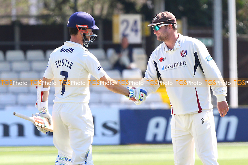 James Foster (L) of Essex shakes hands with opposing skipper Rob Key at the end of the match - Essex CCC vs Kent CCC - LV County Championship Division Two Cricket at the Essex County Ground, Chelmsford, Essex - 21/04/15 - MANDATORY CREDIT: TGSPHOTO - Self billing applies where appropriate - contact@tgsphoto.co.uk - NO UNPAID USE