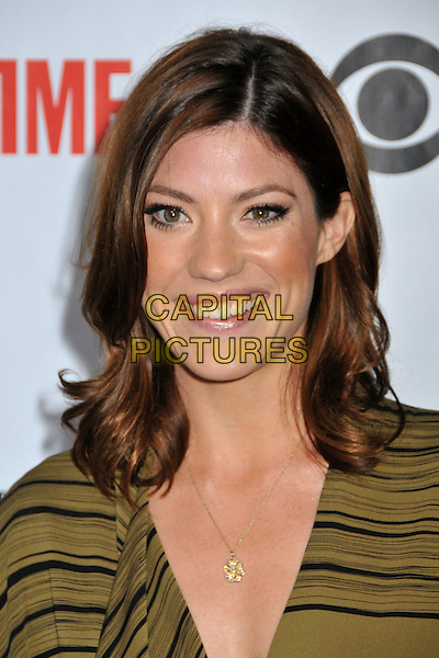 JENNIFER CARPENTER .CBS, CW and Showtime TCA Press Tour Party 2009 held at the Huntington Library, Pasadena, CA, USA..August 3rd, 2009.headshot portrait necklace  black green striped stripes smiling.CAP/ADM/BP.©Byron Purvis/AdMedia/Capital Pictures.