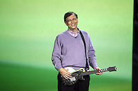 "1/6/08,Las Vegas,Nevada  ---  Chairman for Microsoft Corporation Bill Gates demonstrates ""XBOX 360 Guitar Hero 3"" during his opening keynote address for the 2008 International Consumer Electronics Show (CES) at the Venetian Resort in Las Vegas. This will be Gates final keynote after twelve years. --- Chris Farina"
