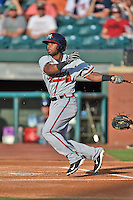 Mississippi Braves center fielder Mycal Jones #9 swings at a pitch during the Southern League All Star game at AT&T Field on June 17, 2014 in Chattanooga, Tennessee. The Southern Division defeated the Northern Division 6-4. (Tony Farlow/Four Seam Images)