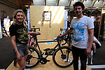 Ricky Feather and Sally on the Feather Cycles stand at Bespoked 2018 UK handmade bicycle show held at Brunel's Old Station & Engine Shed, Bristol, England. 21st April 2018.<br /> Picture: Eoin Clarke | Cyclefile<br /> <br /> <br /> All photos usage must carry mandatory copyright credit (© Cyclefile | Eoin Clarke)