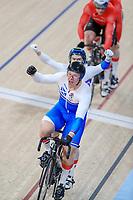 Scotlands Neil Fachie and pilot, Matt Rotherham celebrate winning gold. Cycling, Commonwealth Games, Gold Coast, Australia. Saturday, 7 April, 2018. Copyright photo: John Cowpland / www.photosport.nz /SWpix.com