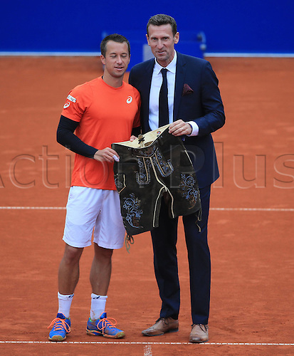 01.05.2016. Munich, Germany. BMW Open 2016 MTTC Iphit Munich singles final.  Winner Philipp Kohlschreiber (GER) with his trophy and Patrick kuhnen. Kohlschreiber beat Dominic Thiem (aut) in 3 sets. <br />
