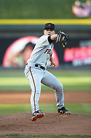 Frederick Keys starting pitcher DL Hall (2) in action against the Winston-Salem Dash at BB&T Ballpark on April 26, 2019 in Winston-Salem, North Carolina. The Keys defeated the Warthogs 7-0. (Brian Westerholt/Four Seam Images)