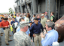 From left to right, Louisiana Governor Bobby Jindal, New Orleans Mayor Mitch Landrieu and Army Corps of Engineers Ray Newman tour the new levee wall and pumps at the 17th Street Canal, built after Hurricane Katrina,  as Hurricane Isaac approaches New Orleans, Tuesday, Aug. 28, 2012. The Category 1 hurricane is expected to hit New Orleans over night...(AP Photo/Cheryl Gerber)
