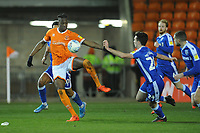 Blackpool's Armand Gnanduillet under pressure from Gillingham's Thomas O'Connor<br /> <br /> Photographer Kevin Barnes/CameraSport<br /> <br /> The EFL Sky Bet League One - Blackpool v Gillingham - Tuesday 11th February 2020 - Bloomfield Road - Blackpool<br /> <br /> World Copyright © 2020 CameraSport. All rights reserved. 43 Linden Ave. Countesthorpe. Leicester. England. LE8 5PG - Tel: +44 (0) 116 277 4147 - admin@camerasport.com - www.camerasport.com