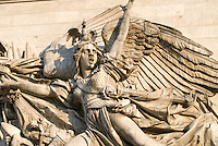 "Arc de Triomphe, Paris.  Detail of Rude's The Departure of the Volunteers of 1792.(or ""La Marseillaise"") on the Champs Elysee side of the Arc.  Detail of the Angel leading a group of volunteersto battle. July 2008"