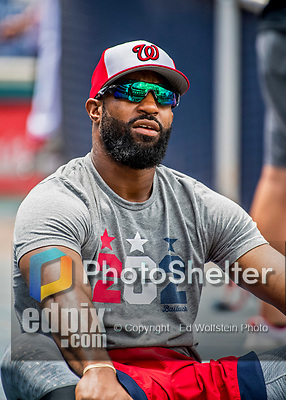 8 July 2017: Washington Nationals outfielder Brian Goodwin stretches out prior to a game against the Atlanta Braves at Nationals Park in Washington, DC. The Braves shut out the Nationals 13-0 to take the third game of their 4-game series. Mandatory Credit: Ed Wolfstein Photo *** RAW (NEF) Image File Available ***