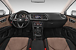 Stock photo of straight dashboard view of a 2015 Seat Leon Style Copa 4 Door Hatchback Dashboard