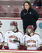 Jackie Young (BC - 25), Courtney Kennedy (BC - Assistant Coach), Emily Pfalzer (BC - 14) - The Boston College Eagles defeated the Northeastern University Huskies 3-0 on Tuesday, February 11, 2014, to win the 2014 Beanpot championship at Kelley Rink in Conte Forum in Chestnut Hill, Massachusetts.