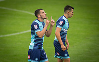Nick Freeman of Wycombe Wanderers celebrates his goal during the pre season friendly match between Aldershot Town and Wycombe Wanderers at the EBB Stadium, Aldershot, England on 22 July 2017. Photo by Andy Rowland.