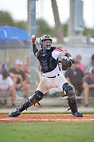 Yanluis Ortiz (25) during the WWBA World Championship at the Roger Dean Complex on October 10, 2019 in Jupiter, Florida.  Yanluis Ortiz attends Southlake Carroll High School in Grapevine, TX and is committed to Miami.  (Mike Janes/Four Seam Images)