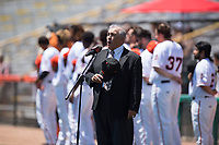 A singer performs the National Anthem before a California League game between the Lancaster JetHawks and San Jose Giants at San Jose Municipal Stadium on May 13, 2018 in San Jose, California. San Jose defeated Lancaster 3-0. (Zachary Lucy/Four Seam Images)