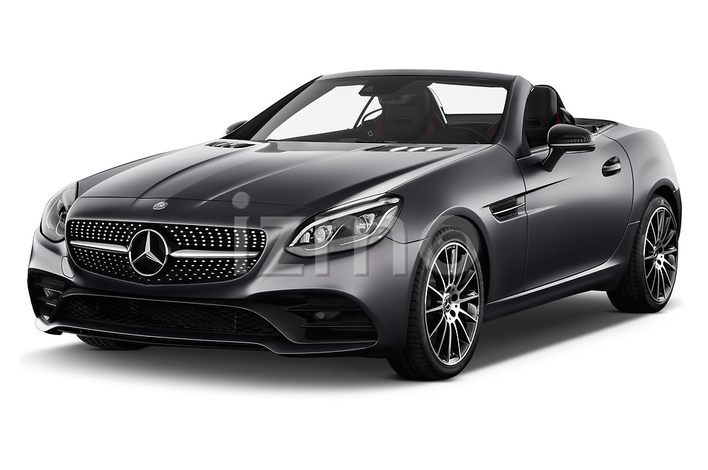 2018 Mercedes Benz SLC Sportline 2 Door Convertible angular front stock photos of front three quarter view