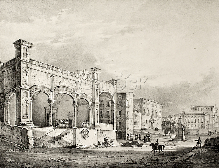 Antique illustration of St. Maria della Catena church entrance, in Palermo, Italy. The original engraving was created by Forino, Cavallari, Cuciniello and Bianchi and was published in 1829