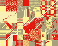 Abstract collage with arrows, binary code and world map ExclusiveImage