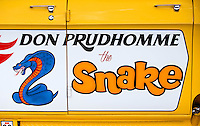 Aug. 29, 2013; Avon, IN, USA: Detailed view of the logo for NHRA NHRA former driver Don Prudhomme prior to the premiere of Snake & Mongoo$e at the Regal Shiloh Crossing Stadium 18. Mandatory Credit: Mark J. Rebilas-