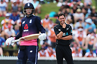 New Zealand's Trent Boult reacts. New Zealand Blackcaps v England. One Day International Cricket. Seddon Park, Hamilton, New Zealand on Sunday 25 February 2018.<br /> <br /> Copyright photo: &copy; Bruce Lim / www.photosport.nz