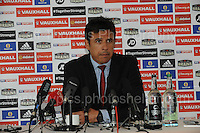 Wales manager Chris Coleman at St. David's Hotel, Cardiff on Wednesday 26th August 2015 making the Wales squad announcement for the forthcoming fixtures in the 2016 European Championship Qualifiers against Cyprus and Israel.<br /> <br /> <br /> Jeff Thomas Photography -  www.jaypics.photoshelter.com - <br /> e-mail swansea1001@hotmail.co.uk -<br /> Mob: 07837 386244 -