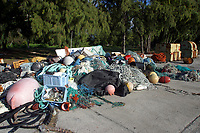 marine debris, plastics and net, Midway atoll, Papahanaumokuakea Marine National Monument, Northwestern Hawaiian Islands, Hawaii, USA, Pacific Ocean