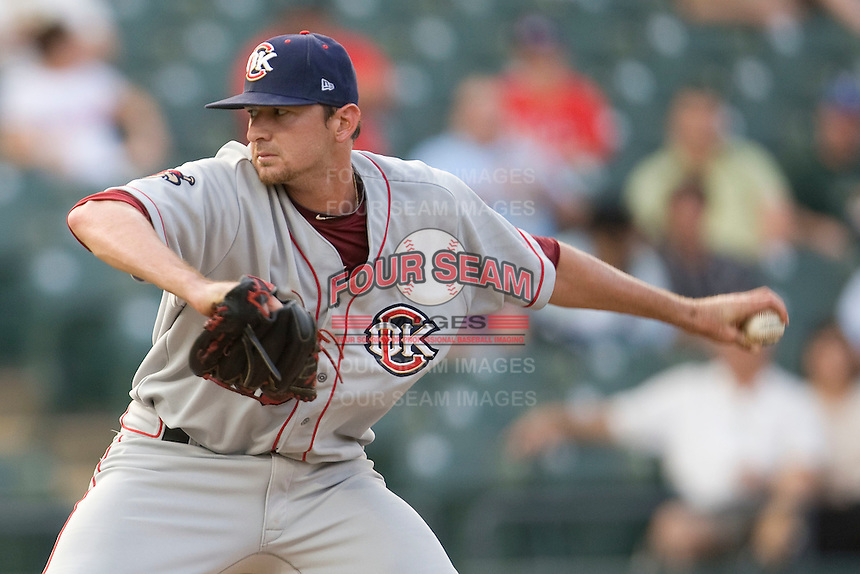 Pitcher Douglas Arguello #35 of the Oklahoma City RedHawks delivers against the Round Rock Express on April 26, 2011 at the Dell Diamond in Round Rock, Texas. (Photo by Andrew Woolley / Four Seam Images)