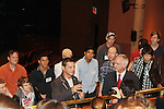 Talk Back - Veterans of the movie join up with the current cast of The Newsies at The Paper Mill Playhouse on October 2, 2010 in Millburn, New Jersey with current cast members and cast members of the film. It was a day of events to all devoted fans of Newsies - Radio Disney at 4 pm, executive reception for members of the original cast of Newsies (the movie) followed by a talkback, Q&A in the theater - all this followed by the evening performance of Newsies with the Curtain Call, old cast meets new cast and a cast photo of all. (Photo by Sue Coflin/Max Photos)