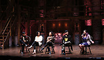"Terrance Spencer, Raven Thomas, Sasha Hollinger, Roddy Kennedy and Holli Campbell on stage during The Rockefeller Foundation and The Gilder Lehrman Institute of American History sponsored High School student #eduHam matinee performance of ""Hamilton"" Q & A at the Richard Rodgers Theatre on November 7, 2018 in New York City."