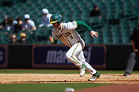 Ryan Bertelsman (3) of the Baylor Bears takes off for second base during the game against the Missouri Tigers in game one of the 2020 Shriners Hospitals for Children College Classic at Minute Maid Park on February 28, 2020 in Houston, Texas. The Bears defeated the Tigers 4-2. (Brian Westerholt/Four Seam Images)