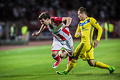 14th September 2017, Red Star Stadium, Belgrade, Serbia; UEFA Europa League Group stage, Red Star Belgrade versus BATE; Defender Filip Stojkovic of Red Star Belgrade is upended by Denis Polyakov