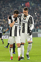 Calcio, Ottavi di finale di Tim Cup: Juventus vs Atalanta. Torino, Juventus Stadium, 11 gennaio 2017.<br /> Juventus&rsquo; Miralem Pjanic, left, celebrates with teammate Marko Pjaca after scoring on a penalty kick during the Italian Cup football round of 16 match between Juventus and Atalanta at Turin's Juventus Stadium, 8 January 2017. Juventus won 3-2 to join the quarter finals.<br /> UPDATE IMAGES PRESS/Manuela Viganti