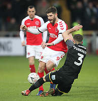Fleetwood Town's Ched Evans battles with AFC Wimbledon's Ben Purrington<br /> <br /> Photographer Mick Walker/CameraSport<br /> <br /> Emirates FA Cup Third Round - Fleetwood Town v AFC Wimbledon - Saturday 5th January 2019 - Highbury Stadium - Fleetwood<br />  <br /> World Copyright © 2019 CameraSport. All rights reserved. 43 Linden Ave. Countesthorpe. Leicester. England. LE8 5PG - Tel: +44 (0) 116 277 4147 - admin@camerasport.com - www.camerasport.com