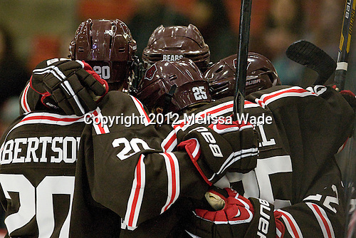 The Bears celebrate Chris Zaires's (Brown - 22) goal which opened scoring in the first period. - The Harvard University Crimson defeated the visiting Brown University Bears 3-2 on Friday, November 2, 2012, at the Bright Hockey Center in Boston, Massachusetts.