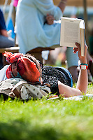 Hay on Wye, UK. Sunday 29 May 2016<br /> Pictured: A woman relaxes and reads at the festival <br /> Re: The 2016 Hay festival take place at Hay on Wye, Powys, Wales
