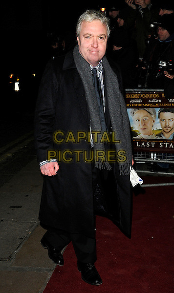 JOHN SESSIONS.The UK Premiere of 'The Last Station' at The Curzon Mayfair Cinema, London, England..January 26th 2010.full length black coat grey gray scarf side .CAP/CAN.©Can Nguyen/Capital Pictures.