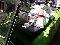 Anniversario omicidio del giornalista Giancarlo Siani trucidato dalla Camorra nel 1985<br /> nella foto un  libro sul sedile dove fu colpito mortalmente il cronista